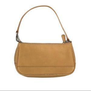 Coach Beige Leather Wristlet Bag